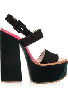 Victoria Beckham Velvet and suede platform sandals | THE OUTNET