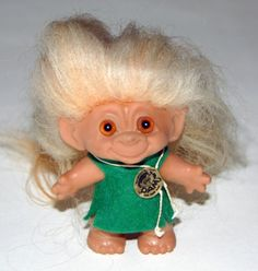 Troll doll from the 1960s. Lots of imitators, but only Dam Troll in Denmark are the real thing. The originals were made of rubber, but as they became more popular, the company switched to plastic.  May 2012