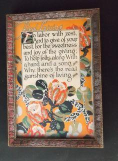 Motto framed print vintage antique; Real Living motto #MottoPrint Vintage Stuff, Vintage Cards, Best Motto, Antique Frames, Framed Prints, Art Prints, Mottos, Vintage Illustrations, Displaying Collections