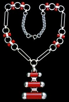 JAKOB BENGEL Attrib.  -  Art Deco Necklace  -  Chromium-plated metal & galalith