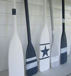 """36"""" Navy Blue Distressed Paddle/ Oar with White Stripes. $59.00, via Etsy."""