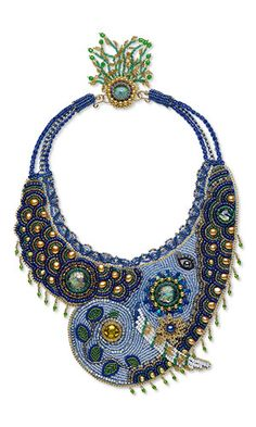 Jewelry Design - Bib-Style Necklace with Seed Beads, Glass Cabochons and Freshwater Pearls - Fire Mountain Gems and Beads