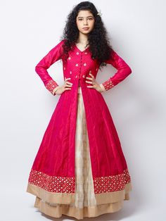 New Cream and Hot Pink Long Sleeve Indo Western Lehenga Choli Lehenga Choli Designs, Kids Lehenga Choli, Silk Lehenga, Orange Lehenga, Lace Saree, Lehenga Suit, Indian Lehenga, Saree Dress, Kurta Designs