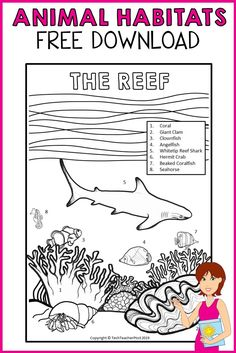 This download is two sample pages from the Animal Habitats - The Reef pack and contains two informative colouring sheets for you to use with your students. One sheet contains sea creatures only and the second sheet contains the sea creatures with labels. #freedownload #teaching #resource #animal #habitats