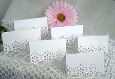 Doily Paper Lace, Wedding Table Cards, Name Handmade, Dainty, Feminine, Shabby Chic, 50 Card Set. $29.99, via Etsy.