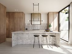 Merrylees Architecture - Modern Kitchen Interiors, Modern Home Interior Design, Home Decor Kitchen, Interior Architecture, Square Island Kitchen, Modern Kitchen Island, Stone Kitchen, Contemporary Style Homes, Contemporary Kitchen Design