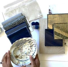 Blue and gold make a great combination featuring our Journal Atlantic fabric. Credit: Lawson Robb