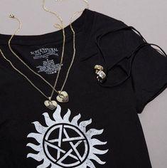 Wicked...rest uneasy // Supernatural Family Business Girls T-Shirt & Sam Dean Mugshot Hearts Necklace Set