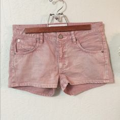 "Adidas denim shorts in dusty pinkish gray. Adidas denim. I didn't know they made denim. They're a dusty pink with a touch of light gray.  Across waist 15"", inseam 2"" and front rise 8"". As with all denim it loosens with wear. Never worn. Like new. Adidas Shorts Jean Shorts"