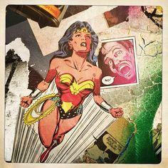 Sketch_wall.deviantart.com  #wonderwoman #wheatpaste #wallart #dc #collage #spraypaint