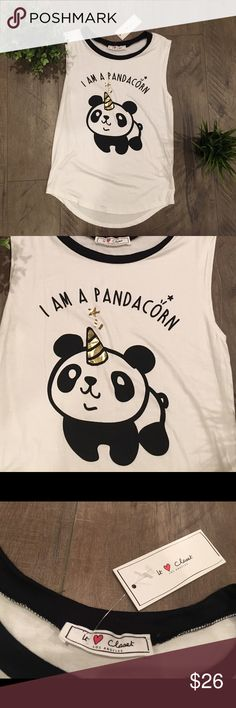 NWT Pandicorn shirt NWT, never worn. Pandicorn (like unicorn) shirt. Small/medium. Gold details are shiny Tops