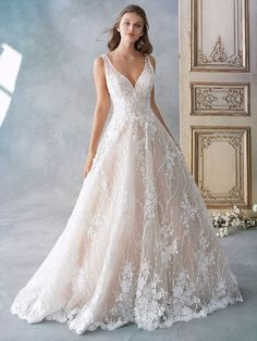 Kenneth Winston Size 14 1789 Champagne/Ivory Gown Embroidered Allover Flower Placement/English Net/Organza/ Stretch Lining Western Wedding Dresses, Dream Wedding Dresses, Designer Wedding Dresses, Bridal Dresses, Prom Dresses, Lace Wedding, Romantic Wedding Gowns, Floral Wedding, Summer Wedding