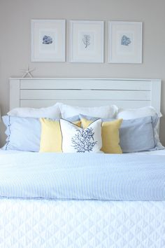 June Blue, White and Yellow in the Bedroom - Starfish Cottage Light Yellow Bedrooms, Yellow Master Bedroom, Dream Bedroom, Blue And Yellow Bedroom Ideas, Blue And Yellow Bedding, Light Blue Bedding, Blue Room Decor, Blue Rooms, Mustard Bedroom