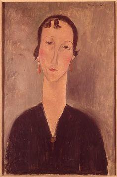 'Frau mit Ohrringen', öl auf leinwand von Amedeo Modigliani (1884-1920, Italy)