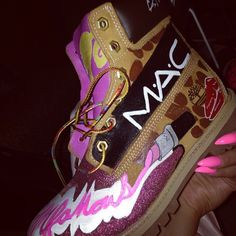 Customized timberlands with Mac lip stick Baskets, Shoes Sneakers, Shoes Heels, Pink Shoes, Adidas Shoes Outlet, Cute Boots, Custom Shoes, Types Of Shoes, Swagg