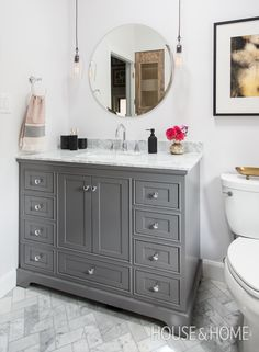 Presented by The Home Depot Get gorgeous bathroom design ideas! See a small bathroom makeover with a classic grey vanity, mosaic tiles, marble herringbone floors, pendant lights and chrome fixtures. Bathroom Design Small, Bathroom Layout, Modern Bathroom, Bathroom Ideas, Bathroom Cabinets, Bathroom Designs, Classic Grey Bathrooms, Light Grey Bathrooms, Ikea Bathroom