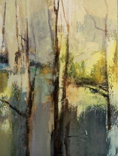 "Spring Emerging-Abstract Landscape by Joan Fullerton Oil ~ 40"" x 30"""