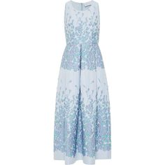 Luisa Beccaria Floral Brocade A-Line Midi Dress ($1,950) ❤ liked on Polyvore featuring dresses, blue, blue pleated dress, pleated midi dress, mid calf dresses, floral print midi dress and blue a line dress