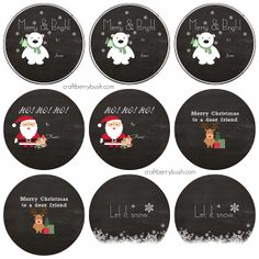 "Craftberry Bush: Free Printable Chalkboard Gift Tags Kemp Kemp (Craftberry Bush) I love the polar bear and the ""Let it snow"" tag! Christmas Labels, Free Christmas Printables, Noel Christmas, All Things Christmas, Christmas Chalkboard, Printable Labels, Free Printables, Etiquette Vintage, Illustration Noel"