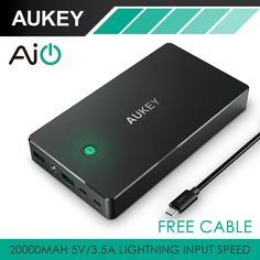Aukey 20000 mah draagbare power bank externe mobiele accu laadstation met dual usb voor iphone, tabletten & Smartphone