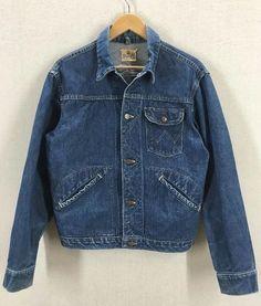 03b94c0f Vtg 50s/60s Wrangler Blue Bell Dark Indigo Sanforized Selvedge Denim Jacket  Sz40   eBay