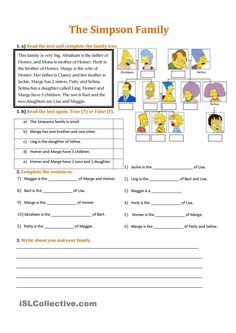 Pin vocabulary Worksheet on Tree Spanish Pinterest Family pdf family members worksheets Simpson