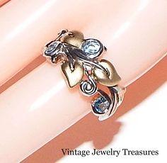 Barbara Bixby Sterling Silver 18K Gold Vine & Leaf Blue Topaz Ring Size 7 ESTATE #BarbaraBixby #BarbaraBixby