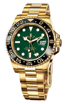 54ccbe516e2037 Rolex Oyster Perpetual Date GMT Master II Anniversary Celebration Model  Yellow Gold with Green Dial and black Bezel.