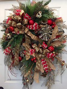 premium animal print pine mesh christmas wreath