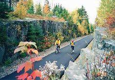 """Two bikers peddle along the legendary Mesabi Trail amidst beautiful fall foliage"" Grand Rapids, Minnesota #usa #cycling"