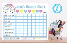Editable Cloud Reward Chart, Cloud  Birthday, Cloud Baby Shower, Instant Download, YOU PRINT Diy Shops, How To Make Bed, Party Printables, Handmade Items, Baby Shower, Clouds, Chart, Templates, Digital