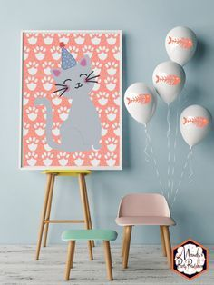 Kitten Welcome Sign from a Kitty Cat Birthday Party   Mandy's Party Printables   Kitten Birthday   Cat Birthday #kittenbirthday #catbirthday #girlspartyideas #pinkbirthday