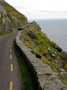 The DIngle Peninsula, Ireland - The only road on the peninsula, one way as you can see (aka size of average Irish road).  They have turnouts for oncoming traffic.