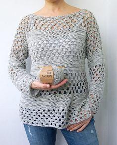 Crochet Pattern woman granny stripes sweater women pullover | Etsy