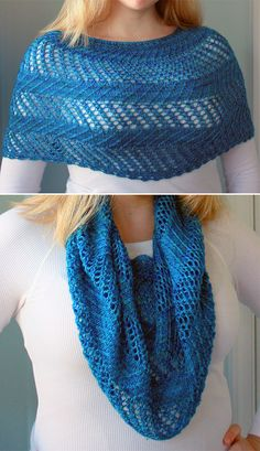 Knitting Pattern for Glamour Loop - This versatile accessory can be worn pulled down over the shoulders as a light capelet or loosely around the neck as a cowl. Knit in fingering weight yarn at a loose gauge its the perfect airy spring or summer layer. Love Knitting, Knitting Yarn, Hand Knitting, Finger Knitting, Knit Cowl, Knitted Shawls, Knit Crochet, Lace Shawls, Crochet Granny