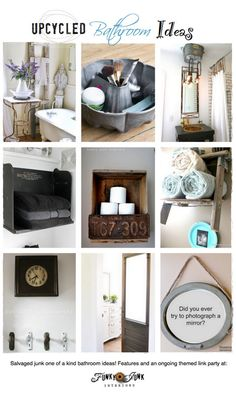 Upcycled bathroom ideas - features and a themed linkup via http://www.funkyjunkinteriors.net/