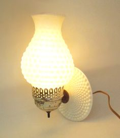 Vintage hobnail milk glass wall lamp wall sconce by indiecreativ, $32.00