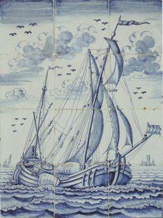 Ship panels - Panels - Showcase antique tiles - Catalogue - Dutch Delft Tiles