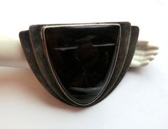 Vintage Mexican Sterling Fred Davis Black Onyx Mask Brooch thecaravancollection