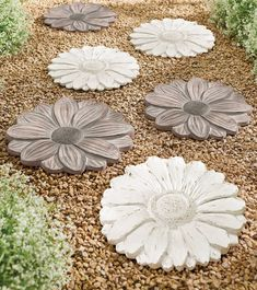 Build a more unique walking path through the garden using our Floret Stepping Stones. Cast in durable, lightweight resin with such intricate detail, you may choose to hang them as wall décor; each stone features an incorporated keyhole on its reverse. Garden Pavers, Garden Tiles, Garden Steps, Garden Art, Garden Oasis, Gnome Garden, Lawn And Garden, Landscape Stepping Stones, Decorative Stepping Stones