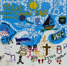 60th Birthday Party -  vibrant group paintings using doodles #DoodleJam www.doodlejam.com