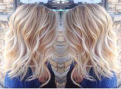 Light blonde balayage done by stylist Liana @hairbyliana light blonde hair warm blonde waves pretty