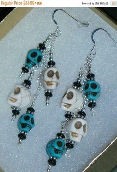 Happy Graduation Sale NOW 925 Sterling silver White & Turquoise Skeleton Dangle Halloween Earrings
