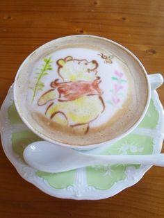 Winnie the Pooh Sees a Bee Coffee Art