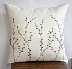 Willow Tree Throw Pillow Pussy Willow Embroidered Linen Couch Pillow Bedroom Apartment Decor Cushion - Pillows Case - Ideas of Pillows Case - Willow Tree Pillow Cover Cream Linen Pillow Green by KainKain Cream Pillows, Decorative Pillow Covers, Throw Pillow Covers, Orange Pillows, Cushion Covers, Cushion Embroidery, Floral Embroidery Patterns, Hand Embroidery Designs, Craft Ideas
