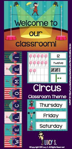 $ Circus Classroom Theme Decoration - acrobats, clowns, lions, elephants, popcorn and more! This set of circus-themed printables is going to turn your classroom into the greatest show on Earth!