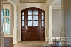 Wood Front Entry Doors in-Stock | Single Door with Sidelights, Continuous Flat Arch, True Divided Privacy Glue Chip Glass | Doors for Builders, Inc.