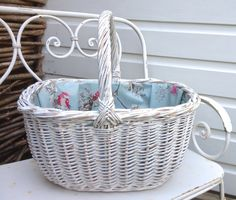 Vintage Shopping Basket lined with Duck Egg Birds oilcloth fabric, Handpainted Distressed Basket, fabric lined Wicker Basket, Handmade in UK by ChandeliersandRoses on Etsy