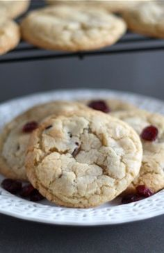 Almond Cookies with Cranberries & White Chocolate Recipe on twopeasandtheirpod.com Add these to your holiday baking list!