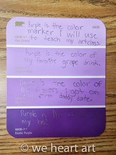 We Heart Art Common Core In Using Descriptive Vocabulary With Paint Chip